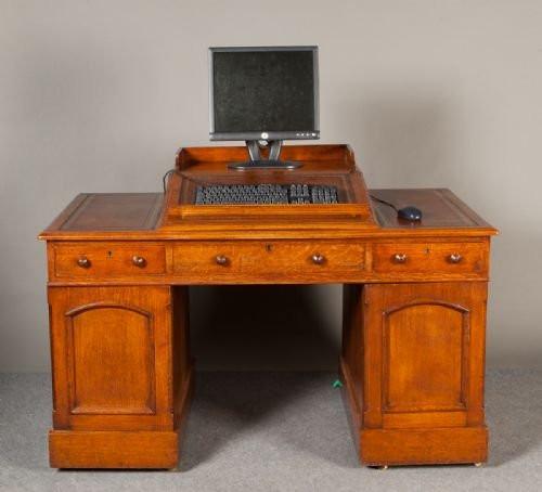 Viktorianischer antiker Schreibtisch Eiche britisch ca 1900