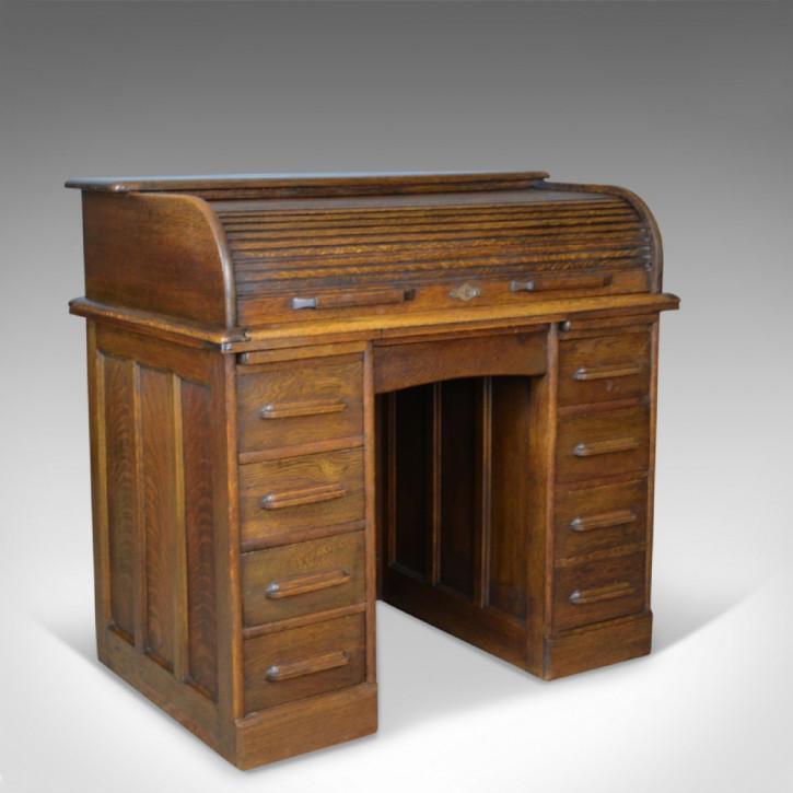 Antiker edwardianischer Eichen Schreibtisch Rolltop britisch ca 1910