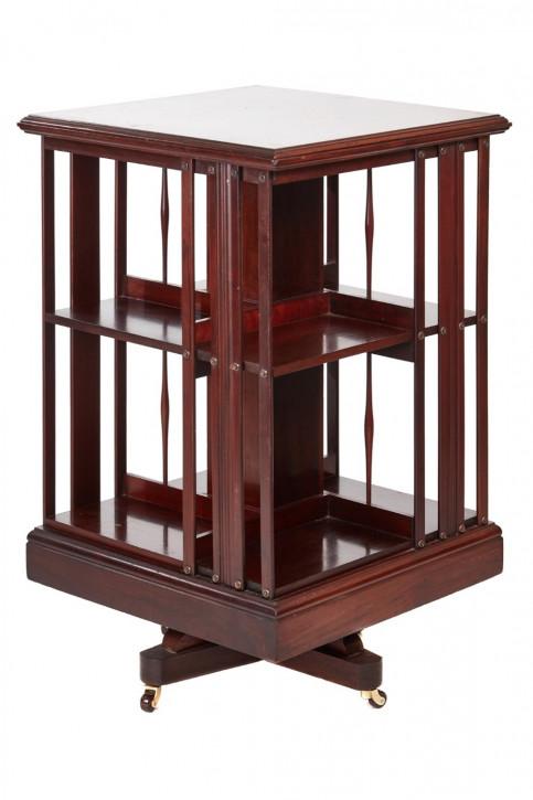 Antikes englisches Revolving Bookcase Mahagoni Bücherregal ca 1900