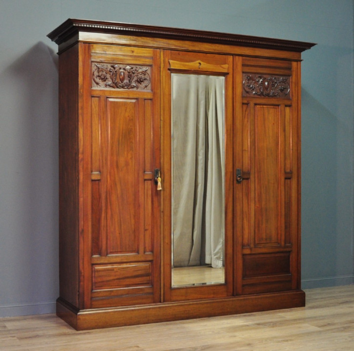 Antiker viktorianischer Mahagoni Kleiderschrank britisch ca 1880