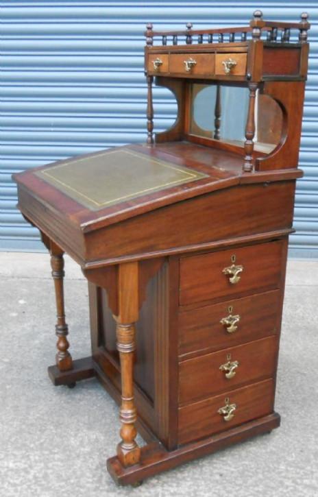 Edwardianischer antiker Davenport Schreibtisch Mahagoni englisch ca 1890