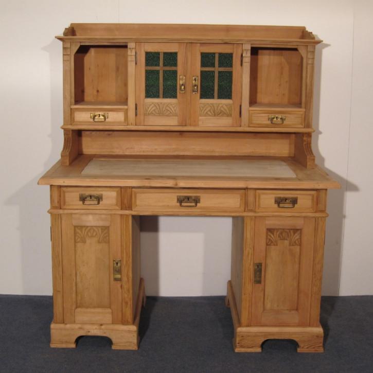Antiker britischer Kiefern Schreibtisch Weichholz ca 1920