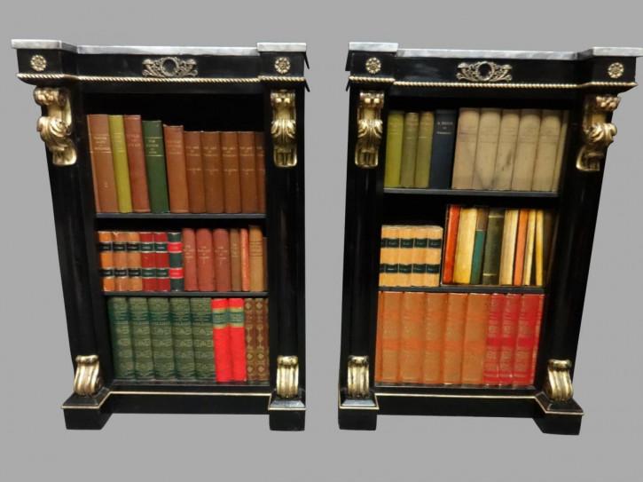 Antike französische Empire Bücherschränke ebonisiert ca 1850