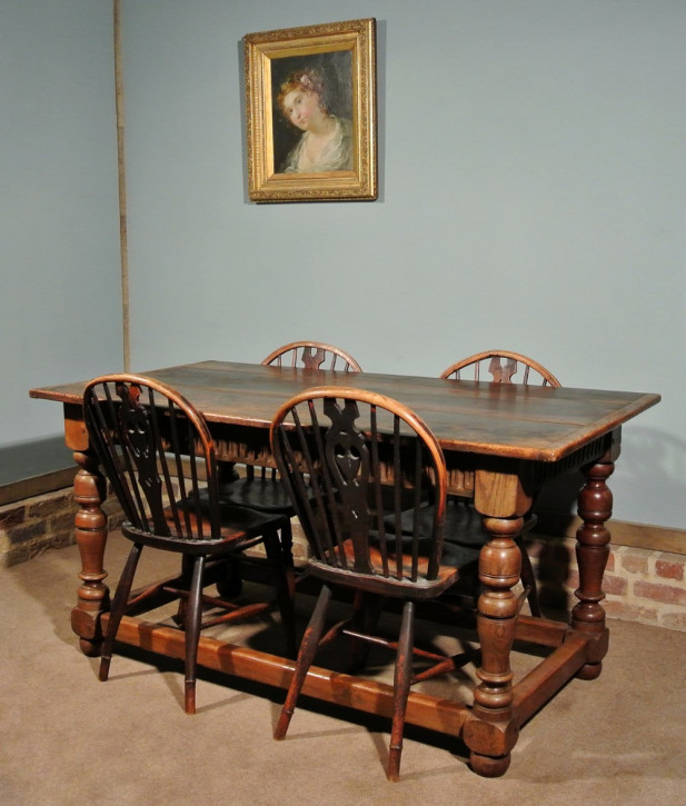 Antiker britischer Eichen Esstisch 1850