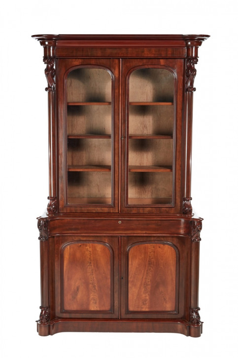 Viktorianischer antiker Mahagoni Bücherschrank englisch ca 1850