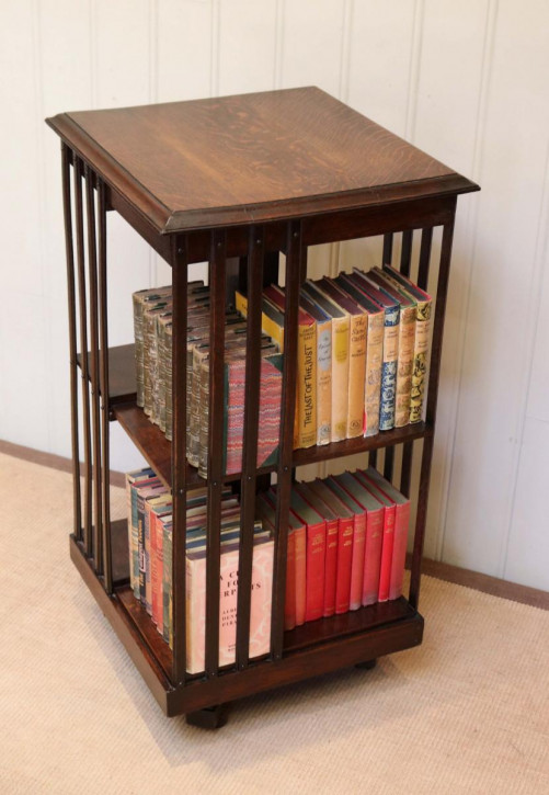 Antikes edwardianisches Eichen Bücherregal Revolving Bookcase ca 1910