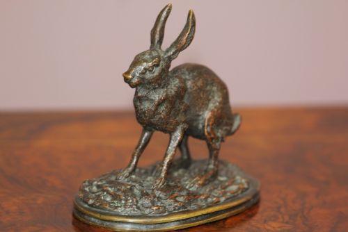 Viktorianische Bronzefigur Hase Skulptur antik englisch ca 1860