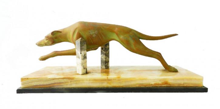 Antike Art Deco Skulptur Windhund Rennhund Marmorfigur englisch ca 1930