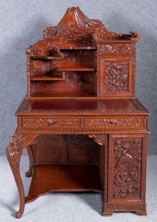Antiker japanischer Meiji Schreibtisch britisch ca 1900