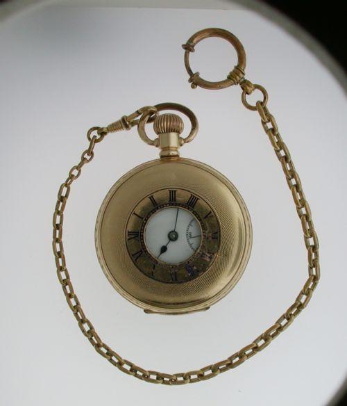 Antike Schweizer Taschenuhr Kettenuhr Gold ca 1920
