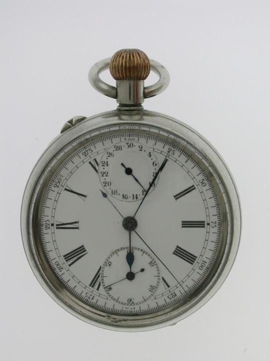 Antike Schweizer Taschenuhr Kettenuhr Stahl 1870