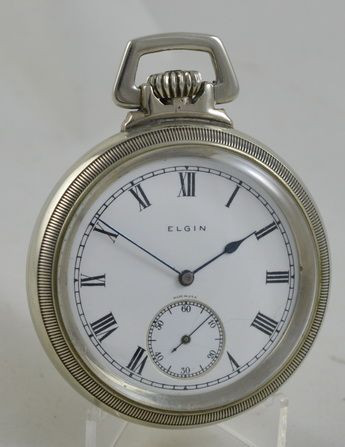 Antike britische Taschenuhr Nickel Kettenuhr ca 1926