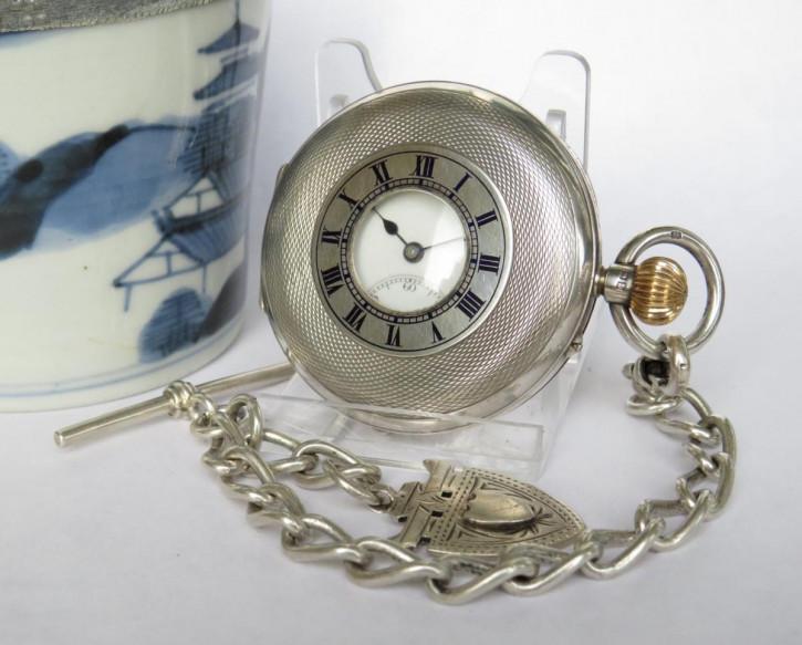 Antike britische Echtsilber Taschenuhr Kettenuhr 1910