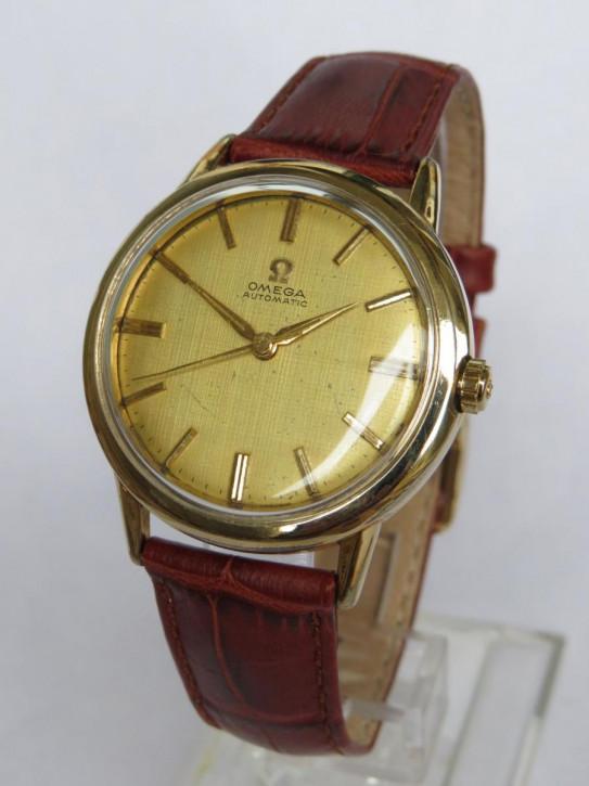 Antike Omega Herren Armbanduhr Uhr Leder Echtleder Gold ca 1959