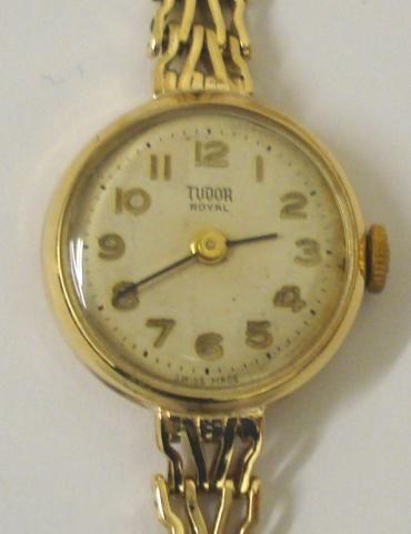 Antike Damen Armbanduhr Rolex Tudor Royal Gold Uhr englisch ca 1960
