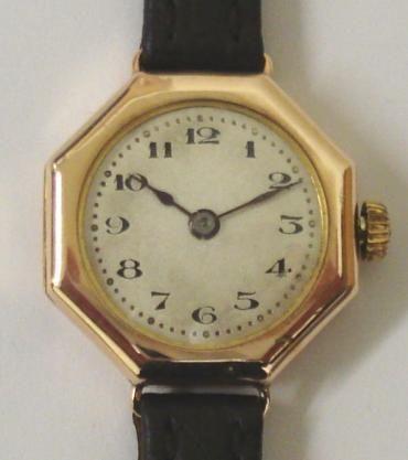 Antike Damen Vintage Rolex Armbanduhr Echtleder Gold Uhr englisch  ca 1920