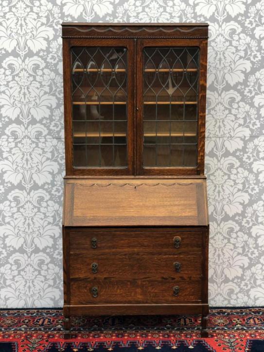 Antiker britischer Eichen Aufsatzsekretär Bureau Bookcase ca 1920