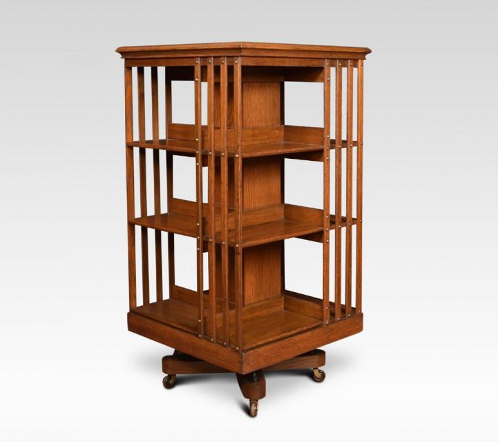 Antikes britisches Eichen Revolving Bookcase Bücherregal ca 1890
