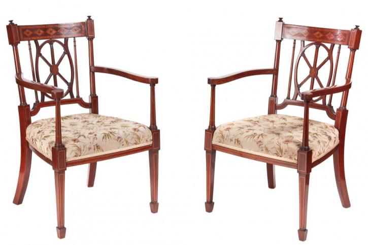 Antike britische Mahagoni Stühle Küchenstühle ca 1890
