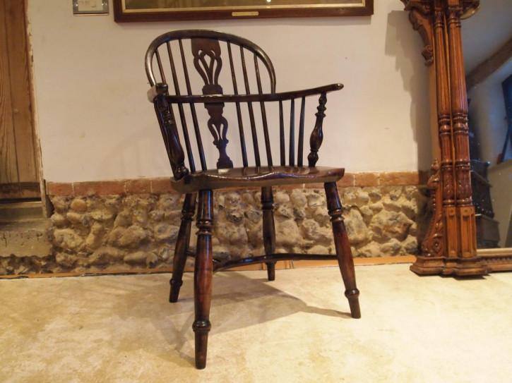 Georgianischer antiker Ulmen Eichen Stuhl Windsor Landhaus ca 1820