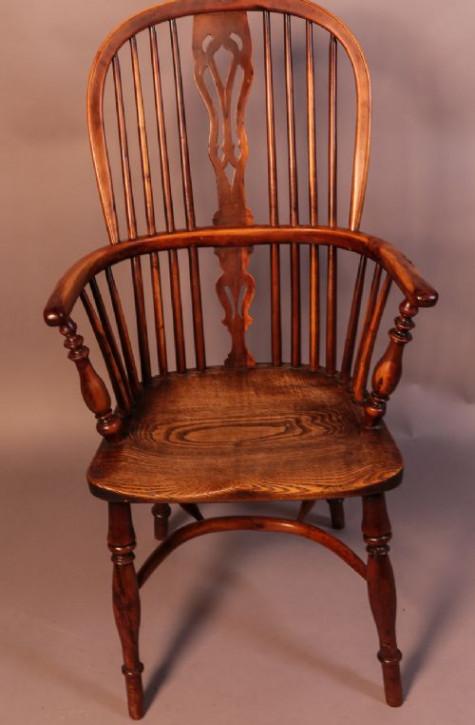 Antiker britischer Eiben Windsor Stuhl Landhaus ca 1840