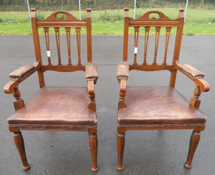 Edwardianische Eichen Stühle Küchenstühle antik britisch ca 1900