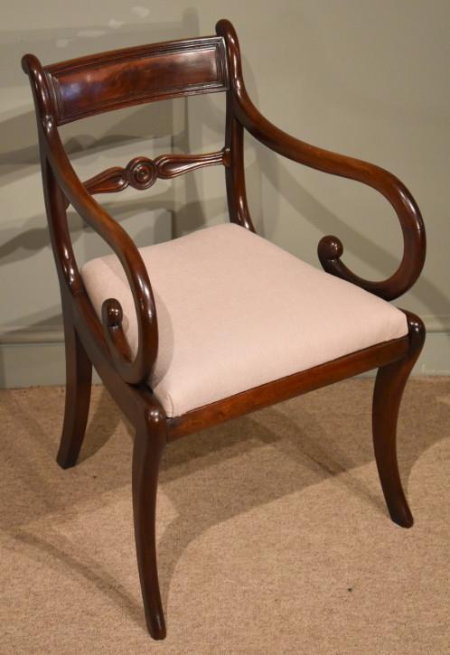 Antiker Regency Mahagoni Stuhl Esszimmerstuhl britisch ca 1810