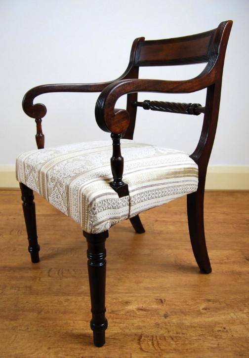 Britischer Regency Mahagoni Stuhl Küchenstuhl antik ca 1820