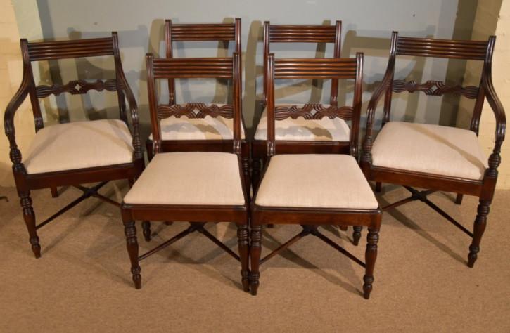 Antike britische Regency Stühle Mahagoni Küchenstühle ca. 19. Jh
