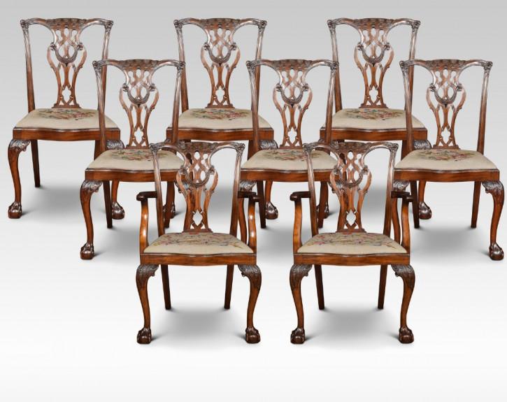 Antike britische Mahagoni Stühle Chippendale ca 1910