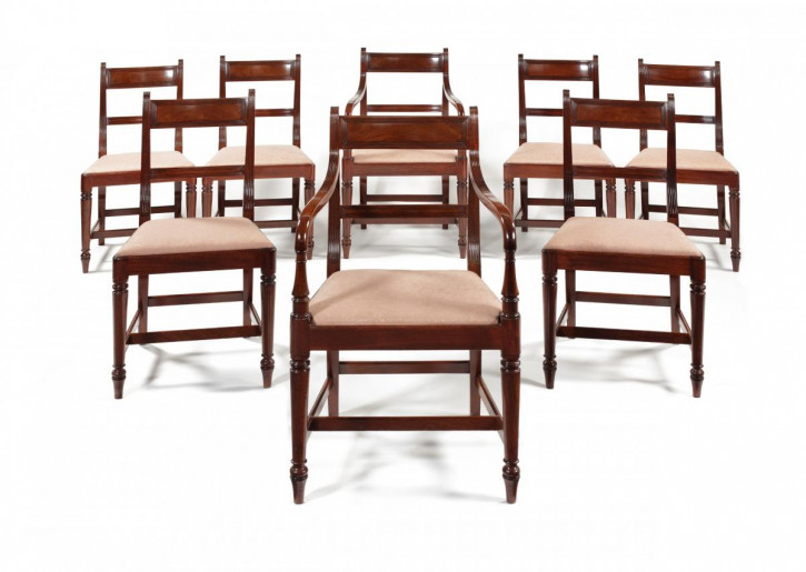 Antike britische Regency Esszimmerstühle Mahagoni Stühle ca 1820