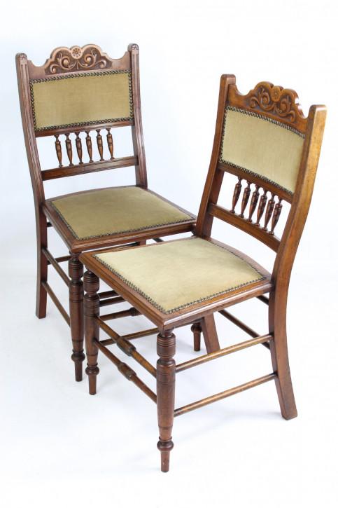 Edwardianische Arts & Crafts Nussbaum Stühle englisch antik ca 1890