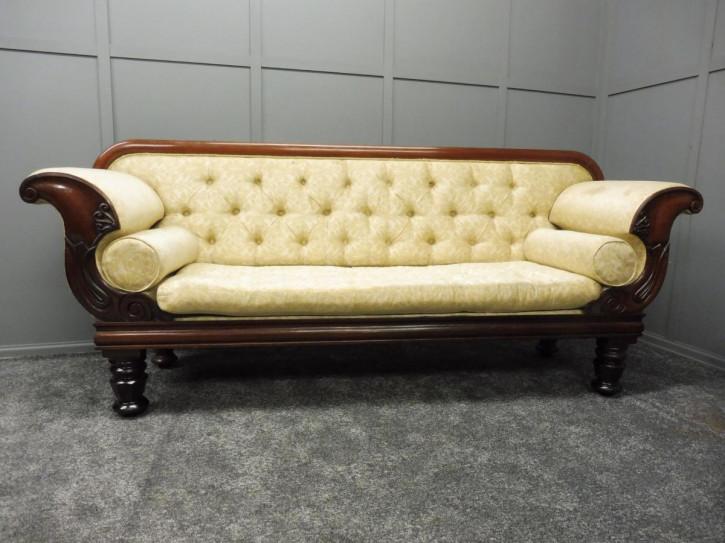 Antikes britisches Mahagoni Sofa Stoffsofa ca 1850
