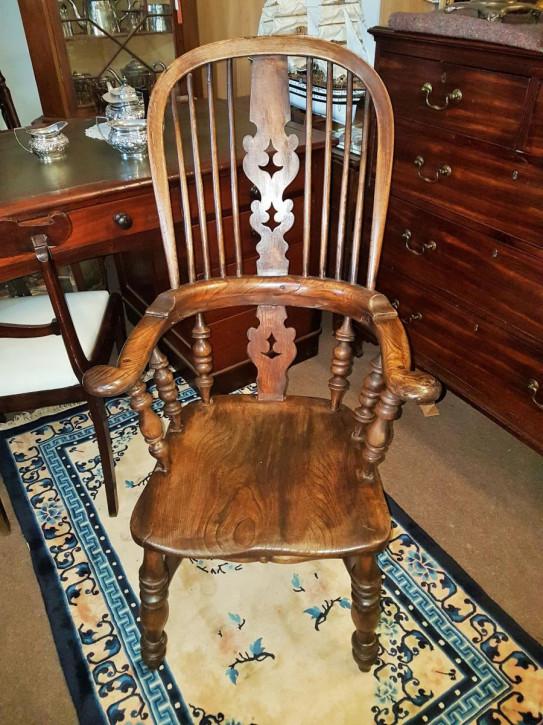 Antiker englischer Stuhl Esche Ulme ca 1860