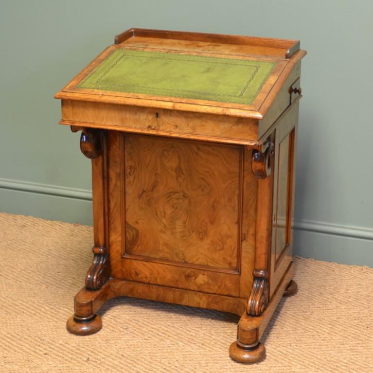 Viktorianischer antiker Nussbaum Schreibtisch Davenport britisch ca 1860