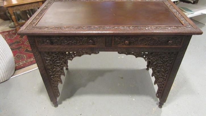 Original antiker anglo-indischer Schreibtisch Massivholz britisch ca 1920