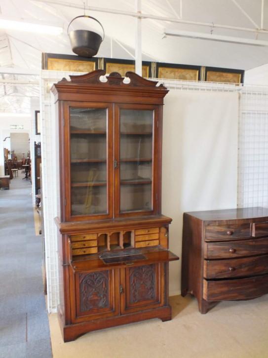 Edwardianischer britischer Nussbaum Bücherschrank Sekretär antik ca 1890