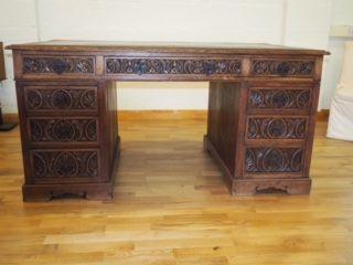 Viktorianischer Eichen Schreibtisch antik britisch ca 1930