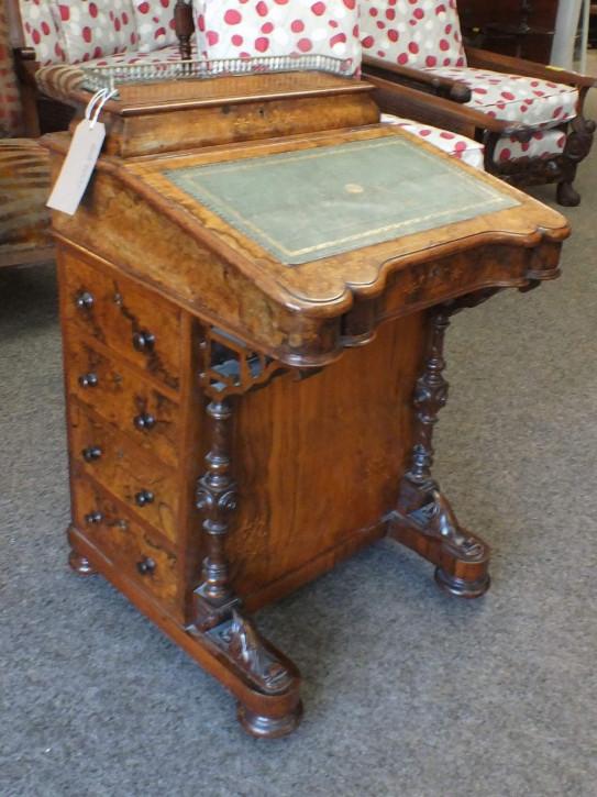 Viktorianischer antiker Davenport Schreibtisch Nussbaum englisch ca 1860