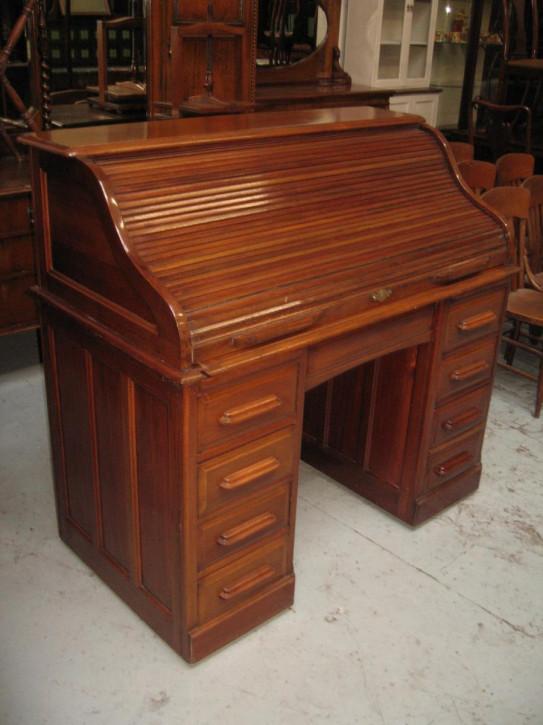 Antiker britischer Mahagoni Schreibtisch Rolltop ca 1920