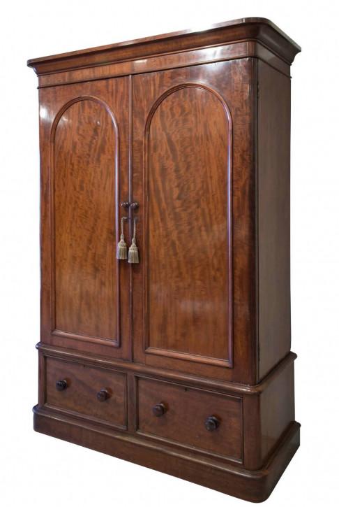 Viktorianischer antiker Mahagoni Kleiderschrank englisch ca 1870