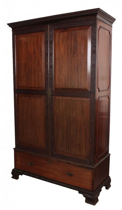 Antiker britischer Mahagoni Kleiderschrank ca 1900