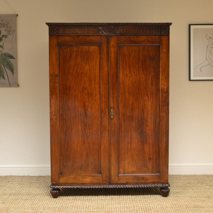 Antiker britischer Regency Kleiderschrank Palisander ca 1820
