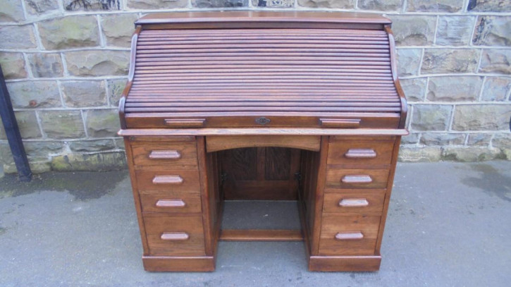 Antiker britischer Eichen Schreibtisch Rolltop ca 1900