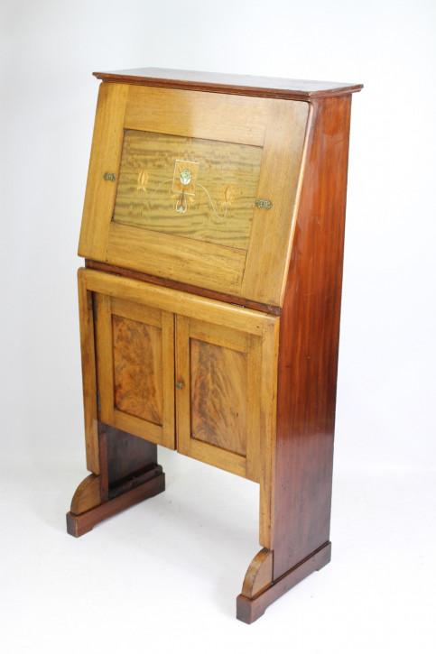 Edwardianischer antiker Arts & Crafts Sekretär Mahagoni ca 1890