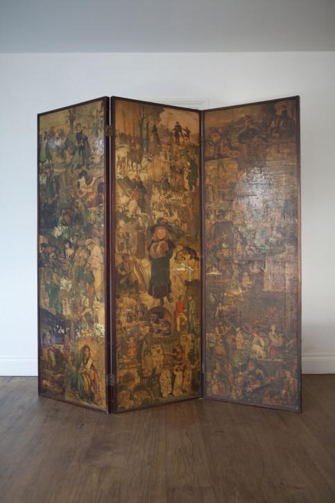 Viktorianische Trennwand Mahagoni Gemälde antik britisch ca 19. Jh