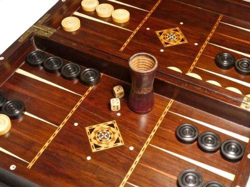 Antikes Englisches Coromandel Backgammon Schachbrett ca. 19. Jh.