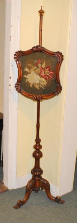 Viktorianischer Antiker Palisander Pole Screen ca. 1860