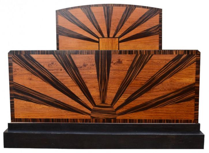 Antikes britisches Art Deco Doppelbett Palisander ca 1930