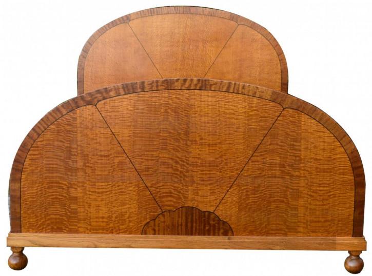 Antikes britisches Art Deco Doppelbett Satinholz ca 1930